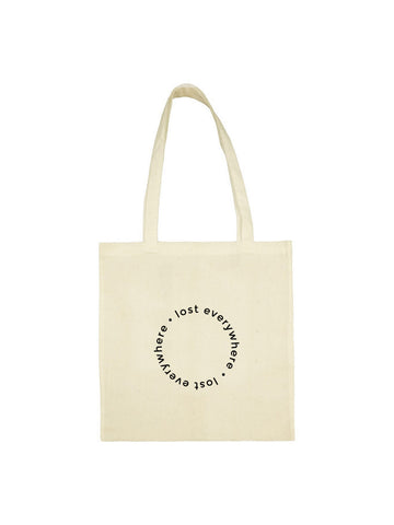 "Tote bag ""lost everywhere"" beige en coton naturel"