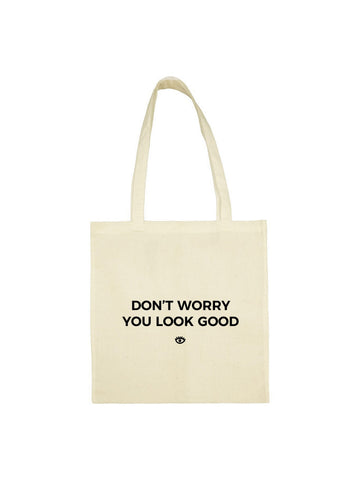 "Tote bag ""you look good"" beige"
