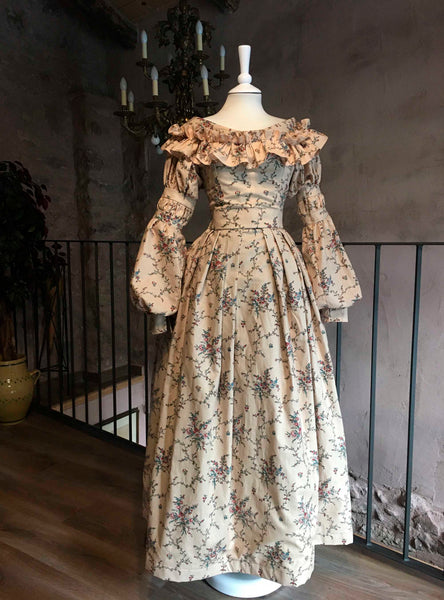 Eugénie, early Victorian dress in Chintz Cotton,
