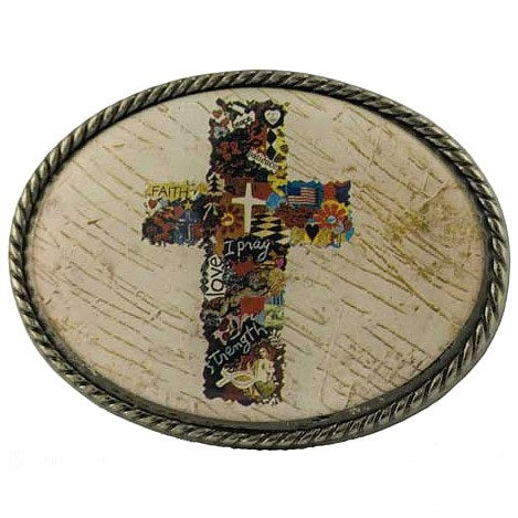 Christian Cross Collage - Belt Buckle