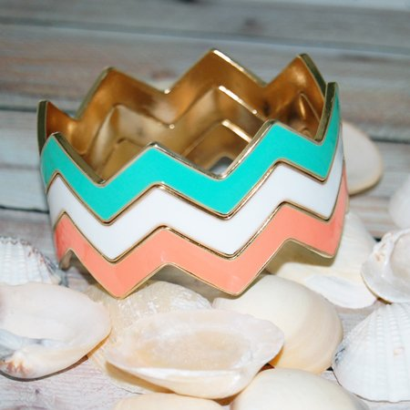 Mint and Coral Chevron Bracelet