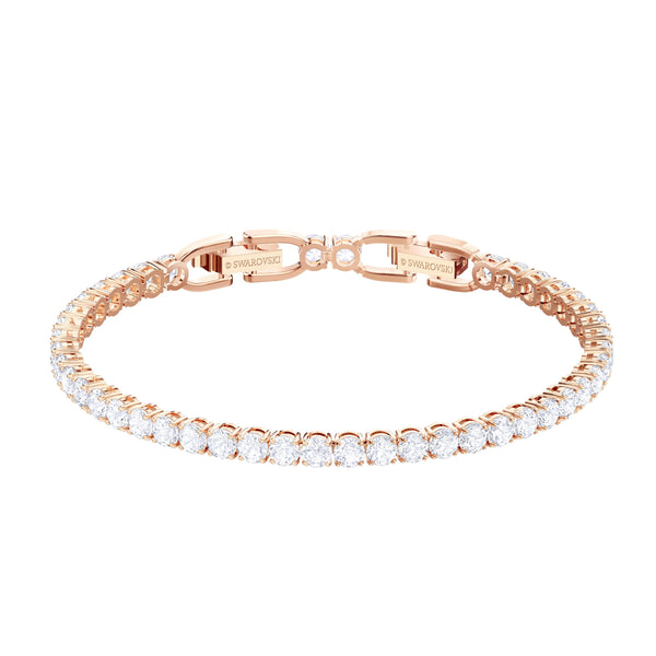 SWAROVSKI - Tennis Deluxe Bracelet White, Rose-gold tone plated