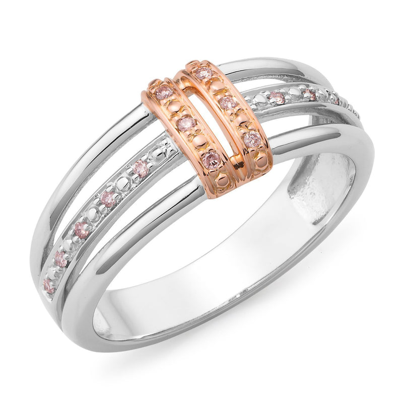 PINK CAVIAR 0.08ct Pink Diamond Ring in 9ct White Gold