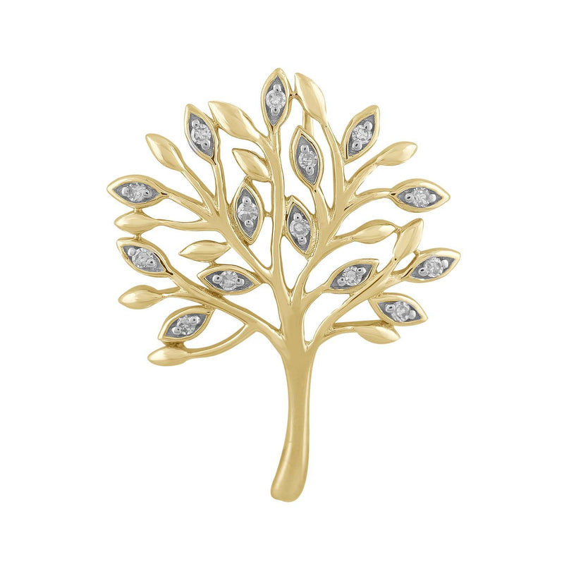 Tree Pendant with 0.05ct Diamond in 9K Yellow Gold
