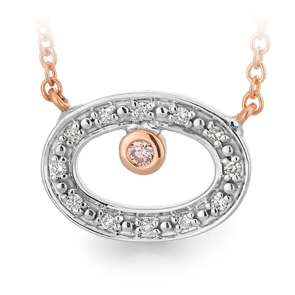 PINK CAVIAR 0.039ct Pink Diamond Necklet in 9ct White & Rose Gold