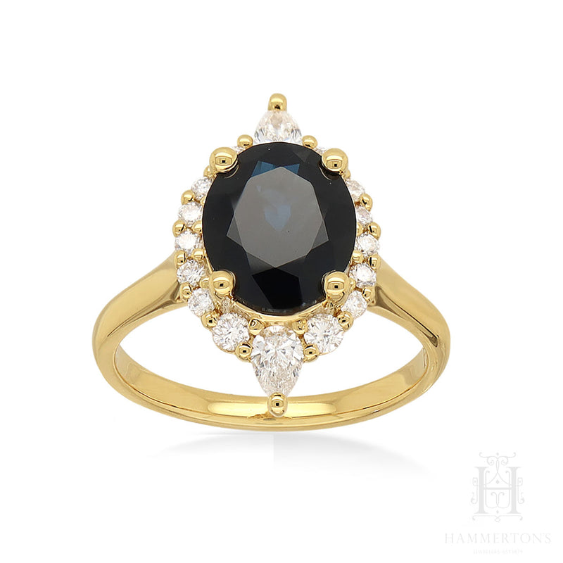 18 carat Yellow Gold, Natural Sapphire & Diamond Ring.