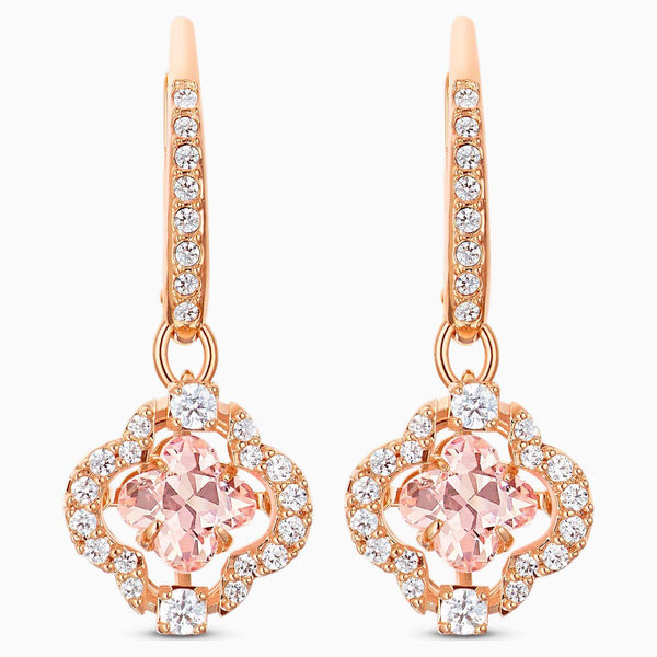 SWAROVSKI - Rose Gold Sparkling Dance Clover Pierced Earrings -  Pink