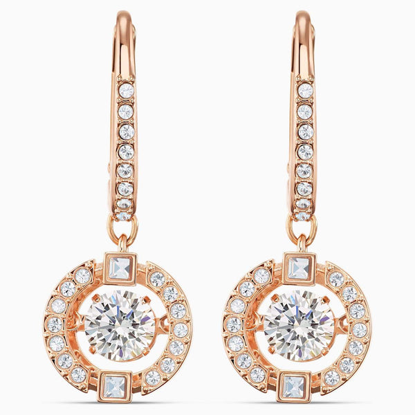 SWAROVSKI - Rose Gold Sparkling Dance Pierced Earrings -  White