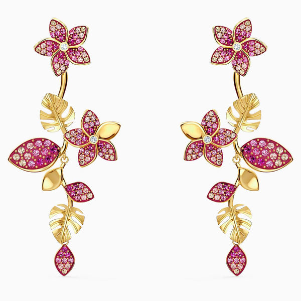 SWAROVSKI - Tropical Flower Pierced Earrings -  Pink