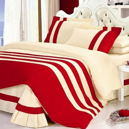 Red & Off white Stripe Duvet Set