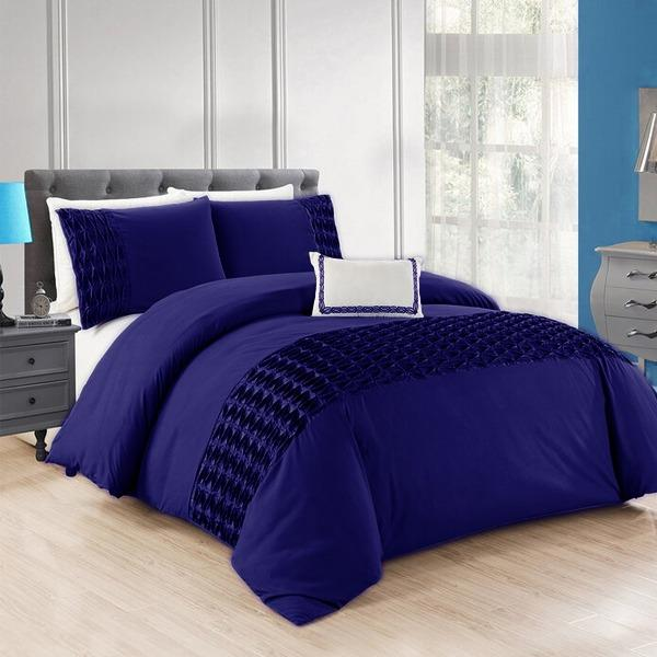 Navy Blue Twisted Pleated Duvet Set