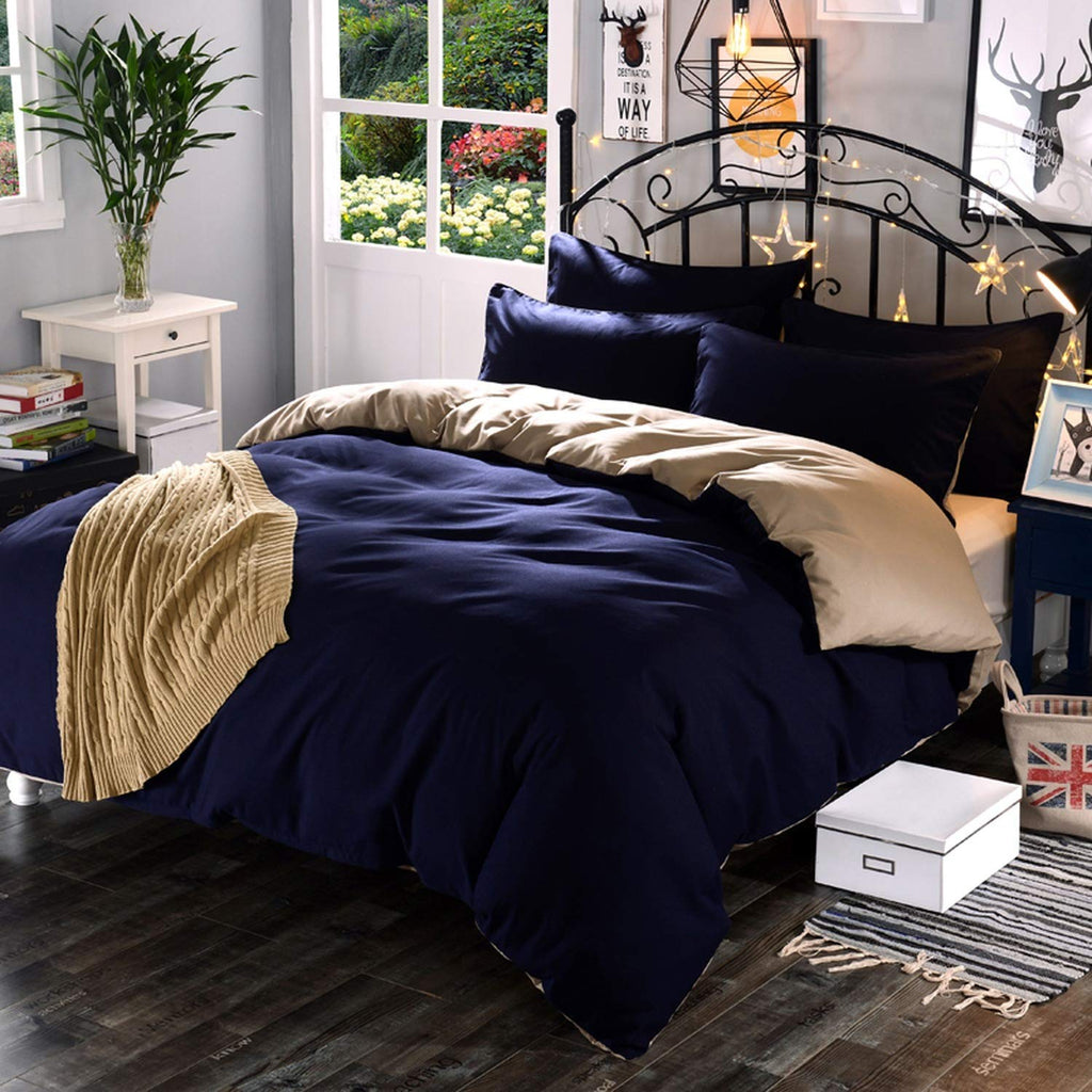 Plain Dyed Duvet Set (Navy-Blue & Beige)