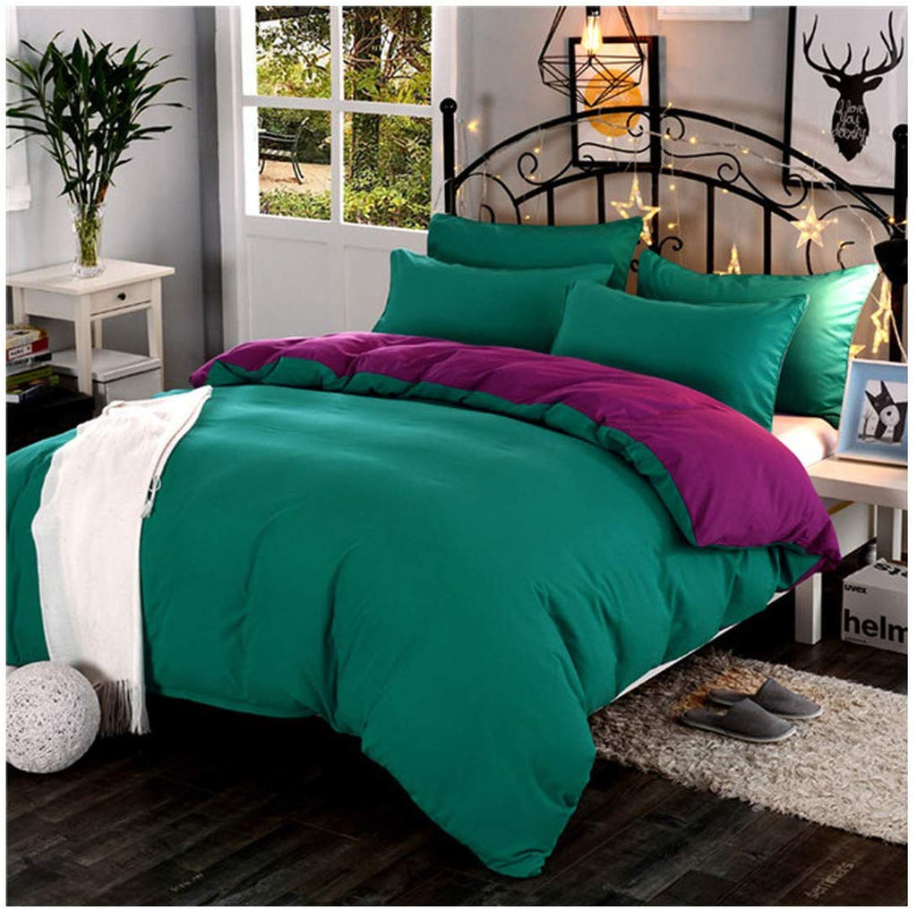 Plain Dyed Duvet Set (Green & Plum)