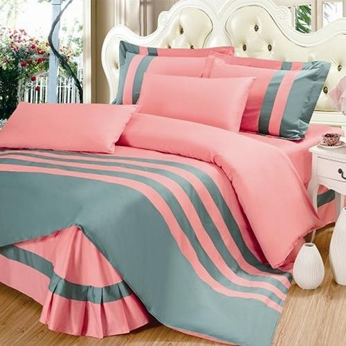 Grey & Light Pink Stripe Duvet Set