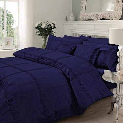 Navy Blue Pleated Duvet Set