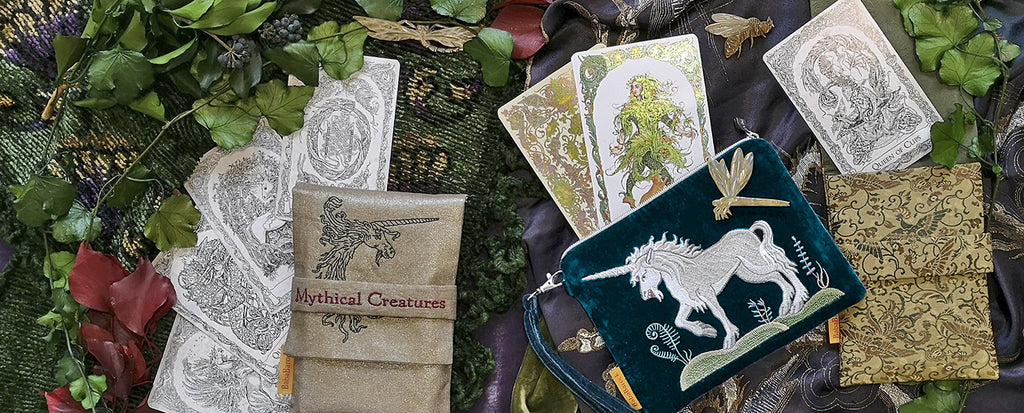 Mythical creatures tarot, unicorn, mermaid, fantastic beasts, tarot cards