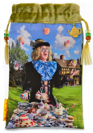 The Mad Hatter bag, Alice Tarot drawstring pouch, silk velvet tarot bags by Baba Studio, Alice in Wonderland