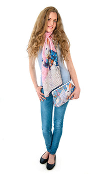 Alice in Wonderland scarves, pink viscose wraps, The White Rabbit print
