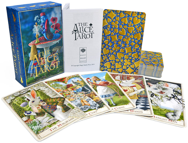 the alice tarot, wonderland tarot, alice in wonderland, tarot cards, white rabbit, queen alice, mad hatter, alice's adventures in wonderland, tarot reading