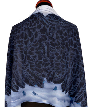 Angel wings scarf by Baba Studio, gothic style printed scarves / wraps