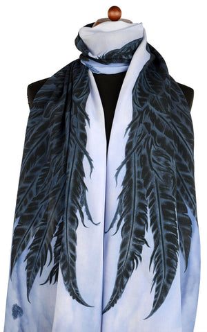 Goth scarf with angel wings, black printed viscose scarves / wraps designed by Baba Studio