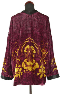 Art Nouveau gilded flowers. BURGUNDY version, silk velvet jacket - Baba Store EU - 2