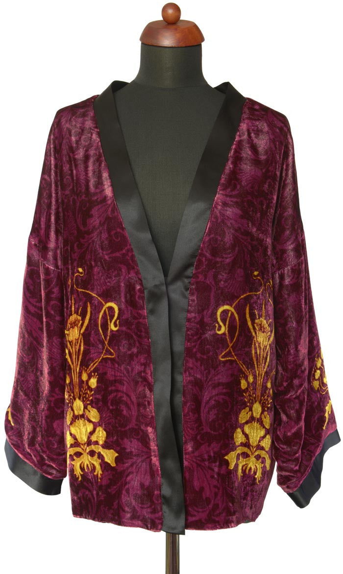 Art Nouveau gilded flowers. BURGUNDY version, silk velvet jacket - Baba Store EU - 1
