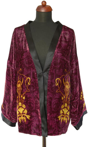 Art Nouveau gilded flowers. BURGUNDY version, silk velvet jacket