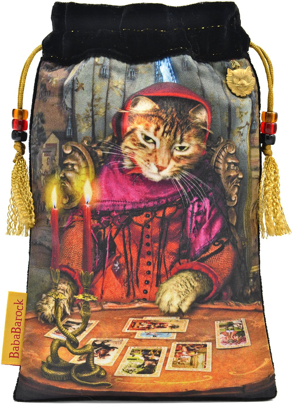 fortune teller, cat,  cartes de tarot, sac de tarot, bohemian cat, black cat, crystal ball, tarot bag, pouch, velvet, silk, printed,Wahrsagerin, Katze, Bohemienkatze, schwarze Katze, Kristallkugel, Tarotbeutel, Beutel, Samt, Seide, tarot reader,  bedruckt