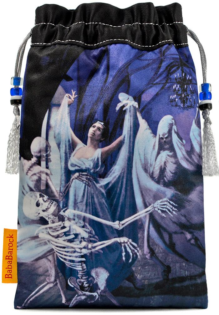Danse Macabre — limited edition gothic tarot bag with vintage silk kimono. Drawstring pouch, skeletons, ghostly