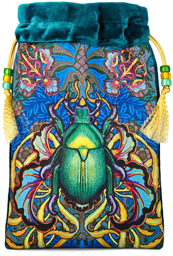 Beetle Belle printed tarot bag, drawstring pouch in silk velvet with scarab beetle print by Baba Studio