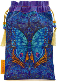 Blue butterfly printed pure silk tarot bag, pouch, drawstring