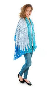 Wings of an Angel pure silk-satin scarf/wrap. Blue version. - Baba Store - 3