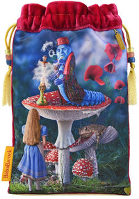 Alice and the Caterpillar tarot bag in silk velvet. Printed tarot pouch from The Alice Tarot by Baba Studio, Alice in Wonderland bag.