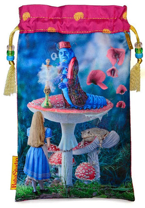 alice tarot, alice and the caterpillar, printed drawstring, tarot bag, tarot pouch, silk tarot bag, pure silk, handmade
