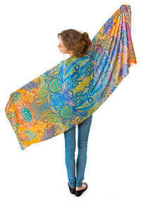 Celtic Dances - printed viscose scarf / wrap by Baba Studio