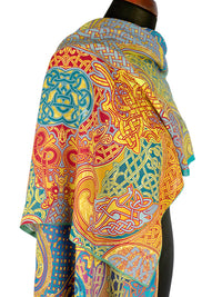 Printed scarves with Celtic design, soft viscose wrap by Baba Studio