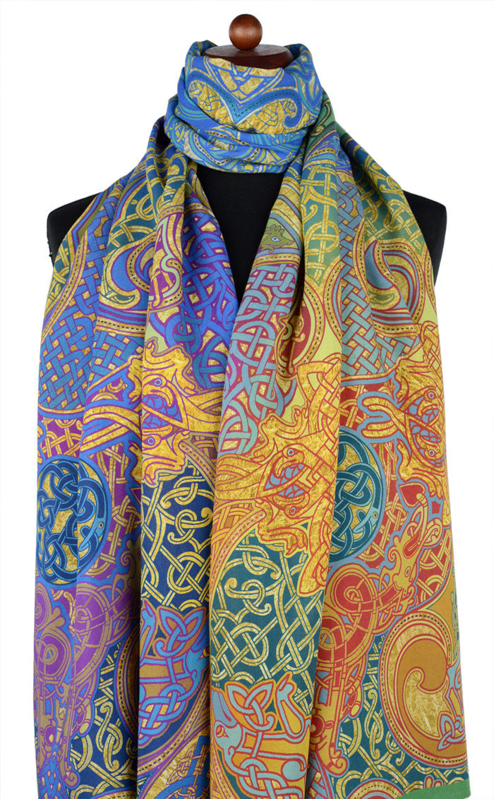 Celtic design scarves by Baba Studio, printed viscose scarf / wrap with hand-rolled hem.