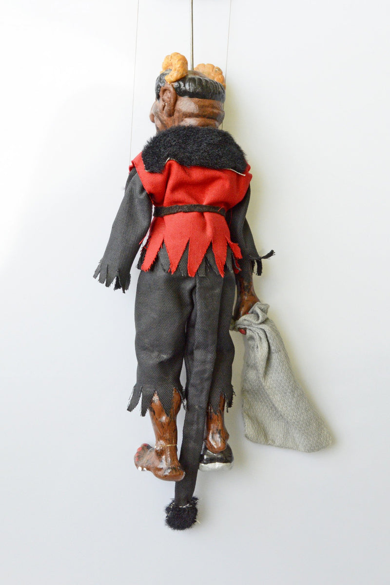 krampus, devil, demon, marionettes, puppet, czechoslovakia, handmade, antique