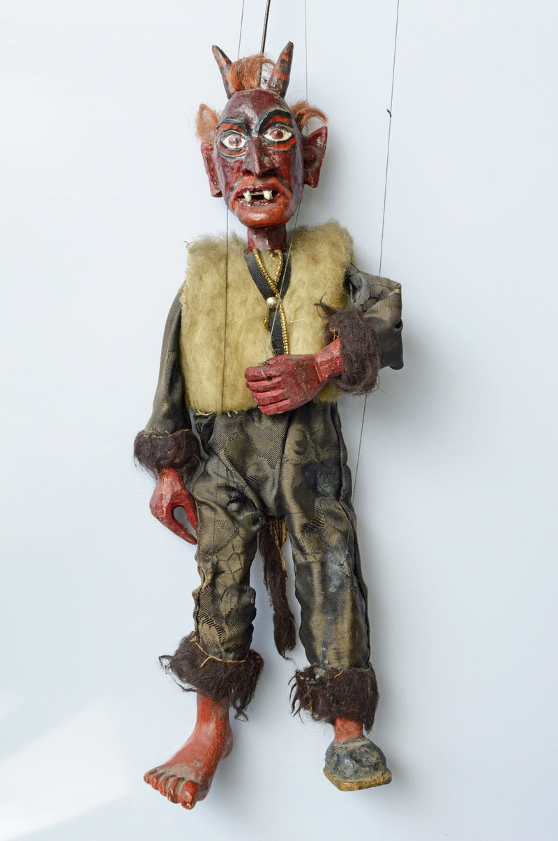 devil, puppet, loutky, marionette, krampus, antique, carved wood