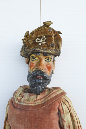 hand-carved, wooden, costume, antique, marionette, puppet, 19th century, victorian, tiller clowes