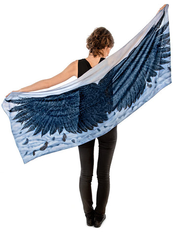 Wings of an Angel, black version, soft viscose scarf/wrap.