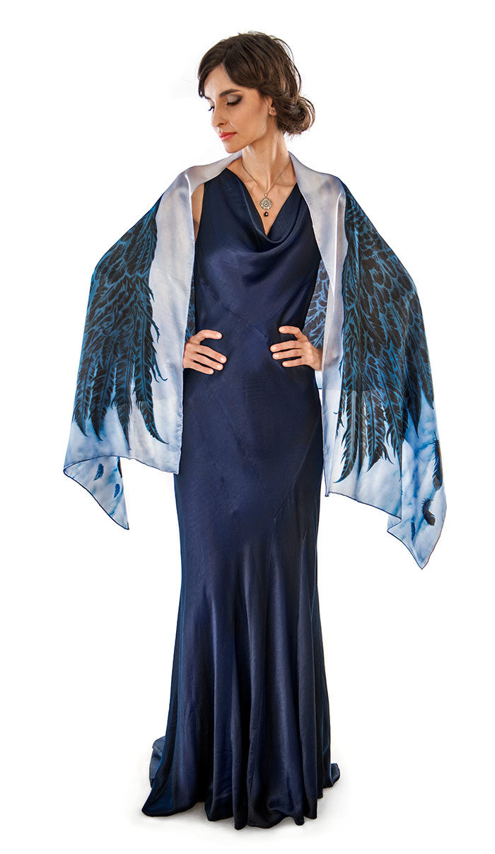 Wings of an Angel, black version, pure silk-satin scarf/wrap. - Baba Store EU - 1