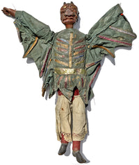 tiller clowes puppets, victorian puppet, 19th century, english marionette, carved wood, antique puppet, for sale, devil puppet, devil marionettes