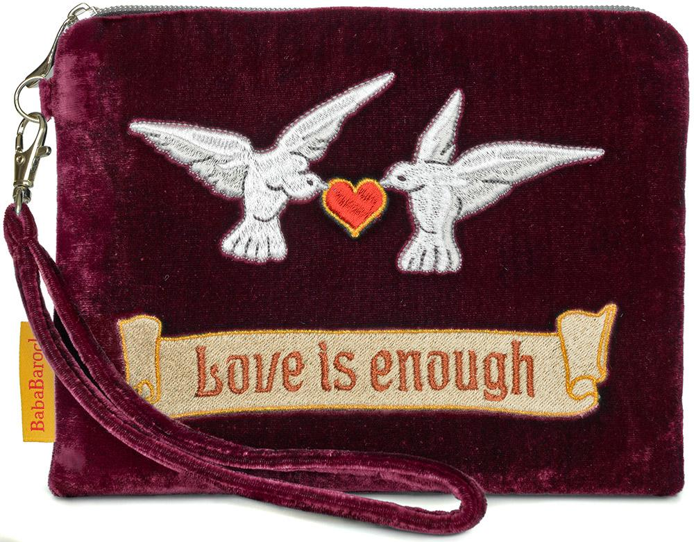 arts and crafts, william morris, love is enough, tarot pouch, doves, valentines, wristlet, silk velvet, doves and hearts, evening bag