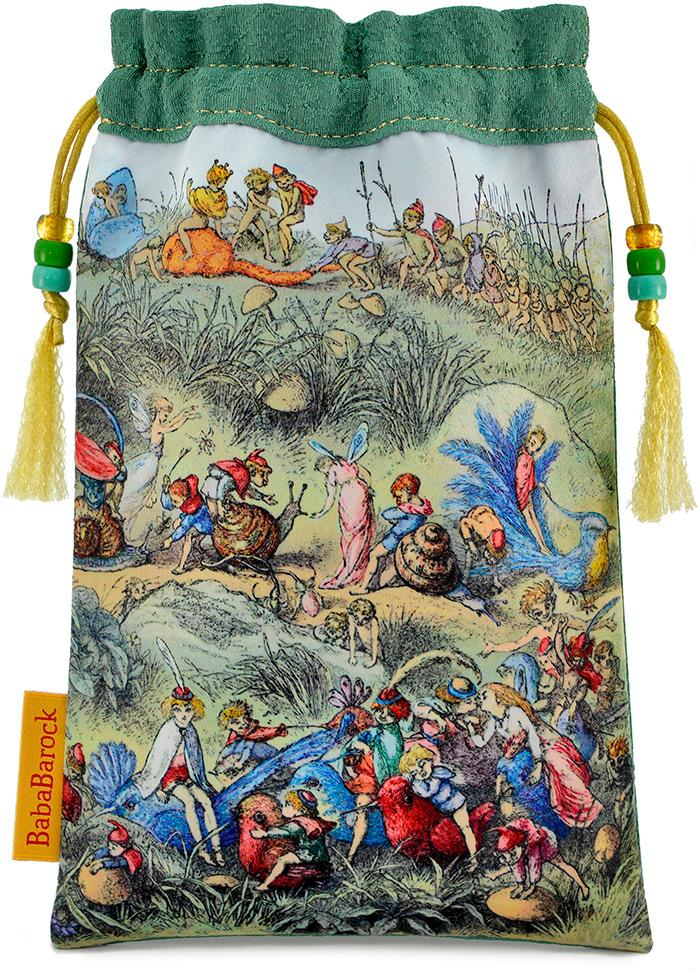 Richard Doyle fairy print, tarot bag, drawstring, handmade, vintage fabric, silk