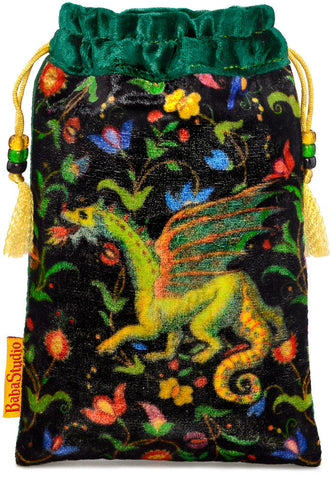 The Dragon bag. Printed on silk velvet. Forest green velvet version.