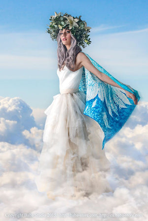 Wings of an Angel pure silk-satin scarf/wrap. Blue version. - Baba Store - 4
