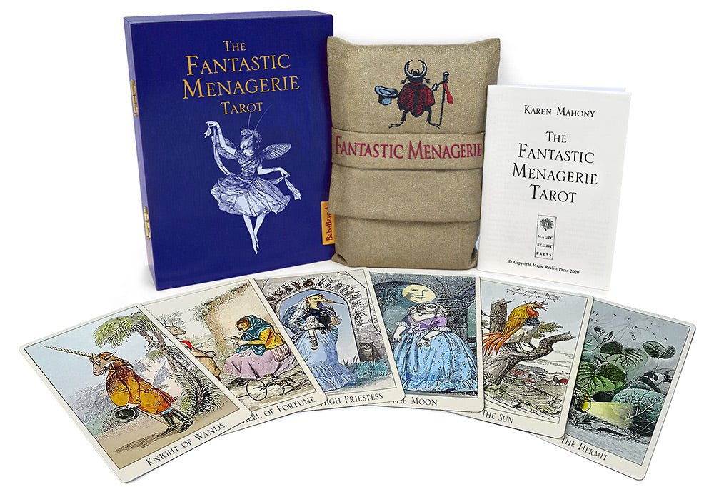 Fantastic menagerie, limited edition tarot, cold stamping, tarot cards, large format, grandville, animal tarot, baba studio, the hermit card