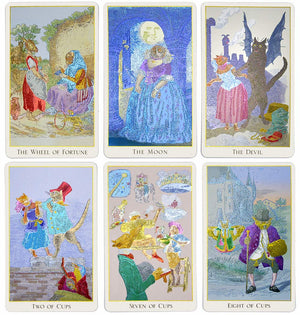 The Fantastic Menagerie Tarot deck photographed to show the graphic illustration clearly